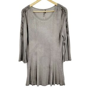 Monoreno Lace Up Bell Sleeve Swing Tunic Gray NWT